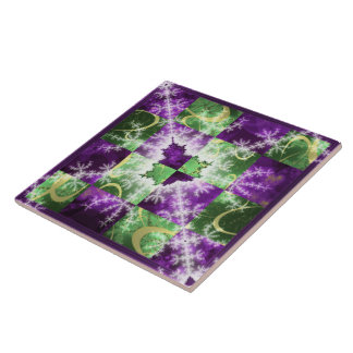 Fractal two colour Checkerboard with detail Tile