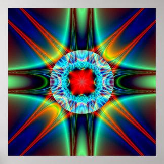 Fractale colorée de bijou d éclat de lumière posters