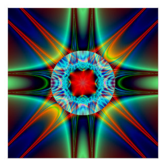 Fractale colorée de bijou d'éclat de lumière posters