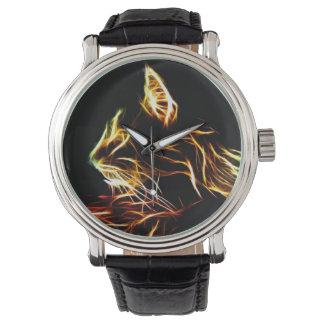 Fractalized cat profile watch