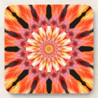 fractalized sunrise Mandala Beverage Coaster