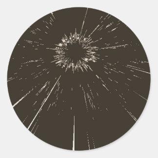 fractured glass classic round sticker