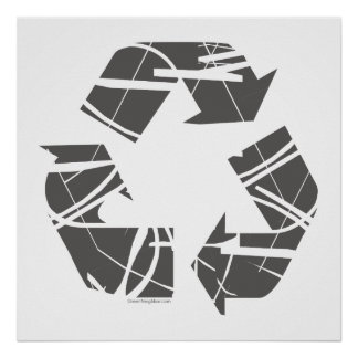 Fractured Gray Recycle Sign Poster