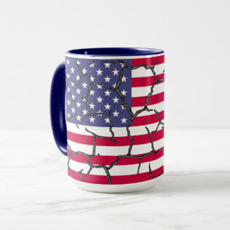 Fractured US Flag Mug