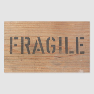Fragil Stamped on Wood Sticker