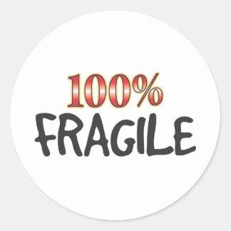 Fragile 100 Percent Round Sticker