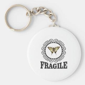 Fragile butterfly sticker keychain