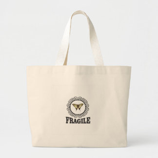 Fragile butterfly sticker large tote bag