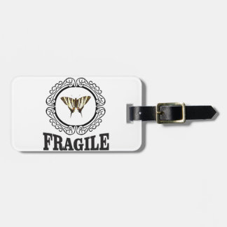 Fragile butterfly sticker luggage tag