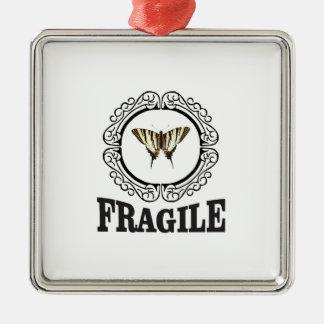 Fragile butterfly sticker metal ornament