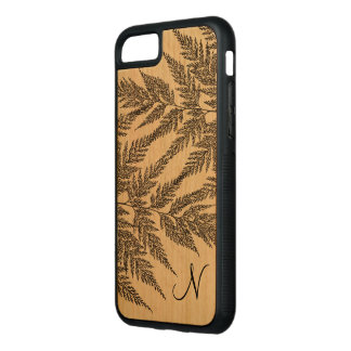 Fragile Fern Fronds Silhouette Monogram Carved iPhone 7 Case