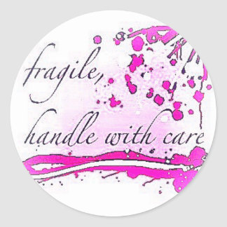 fragile handle with care classic round sticker
