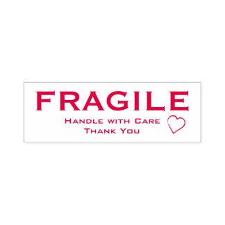 Fragile Handle with Care - Heart Accent, Red Stamp