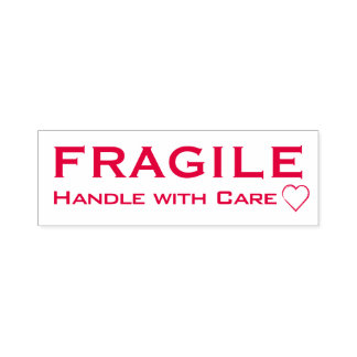 Fragile Handle with Care Heart Accent, Red Stamp