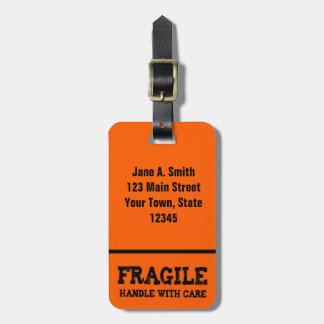 Fragile, Handle with Care, Orange Luggage Tag