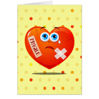 Fragile heart, greetings card