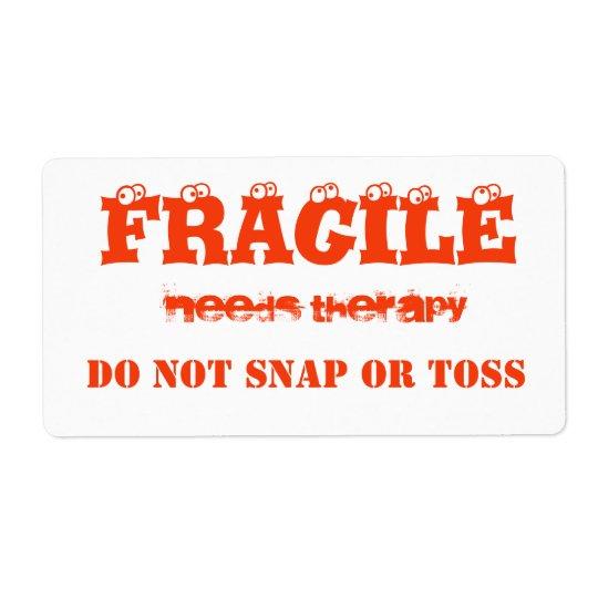 Fragile orange  colour avery label