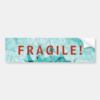 Fragile Red Warning Word On Blue Crystal Mosaic Bumper Sticker