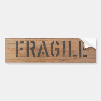 Fragile Stamped on Wood Bumper Sticker