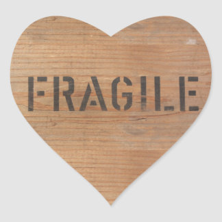 Fragile Stenciled on Wooden Crate Heart Sticker