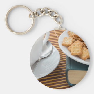 Fragment of a saucer with a cup of tea keychain