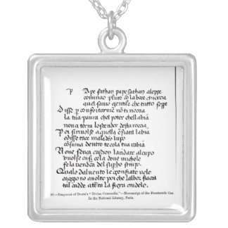 Fragment of Dante's  'Divina Commedia' Silver Plated Necklace
