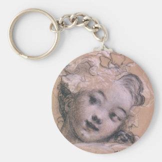 Fragonard Girl Basic Round Button Keychain