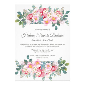 Fragrant Garden Memorial Thank You Card