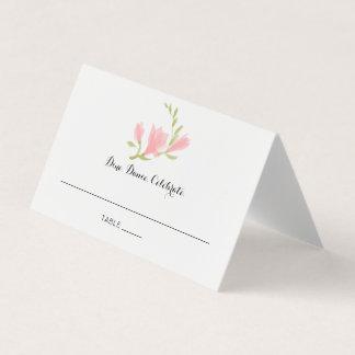 Fragrant Pink Freesia Petals Wedding Reception Card