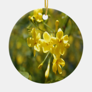 Fragrant Yellow Flowers Of Carolina Jasmine Ceramic Ornament