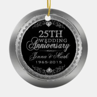 Frame & Hearts 25th Wedding Anniversary Ceramic Ornament