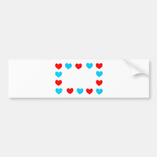 Frame of red and blue paper hearts with copy space bumper sticker