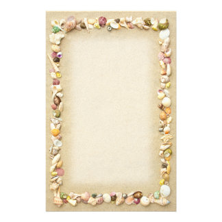 Frame of Seashells and Beach Sand Stationery