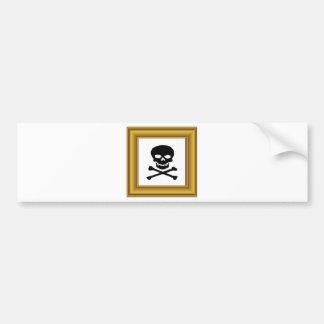 framed black cross bones bumper sticker