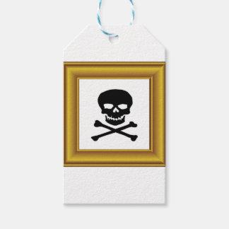 framed black cross bones pack of gift tags