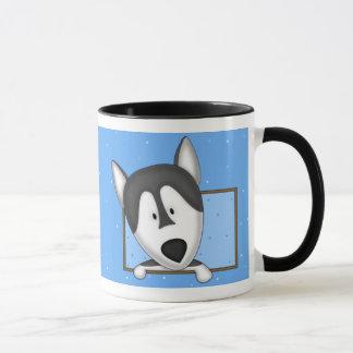 Framed Cartoon Alaskan Malamute Mug