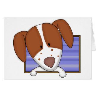 Framed Cartoon Brittany Spaniel Card