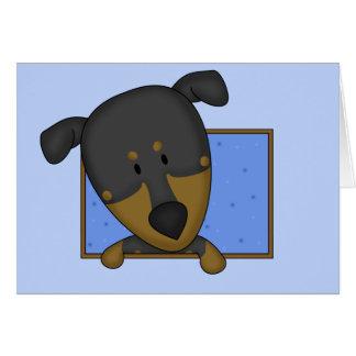 Framed Cartoon Doberman Pinscher Card