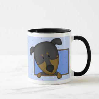 Framed Cartoon Doberman Pinscher Mug
