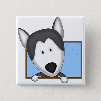 Framed Cartoon Siberian Husky 2 Inch Square Button