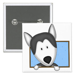 Framed Cartoon Siberian Husky 2 Inch Square Button