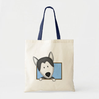 Framed Cartoon Siberian Husky Tote Bag