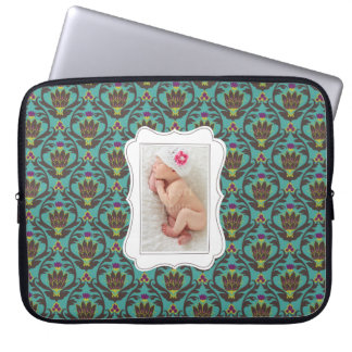 Framed custom photo on teal damask background laptop computer sleeve