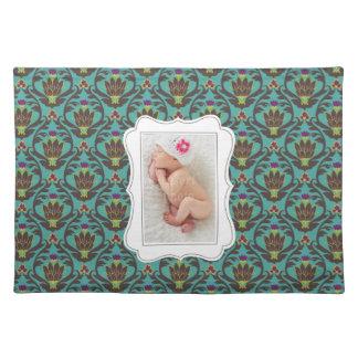 Framed custom photo on teal damask background placemat