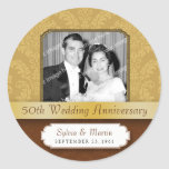 Framed Damask Golden 50th Anniversary Round Stickers