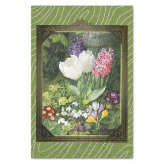 Framed Dutch Spring Flowers Botanical Tissue Paper