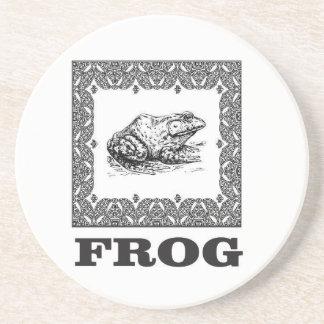 framed frog artwork coaster