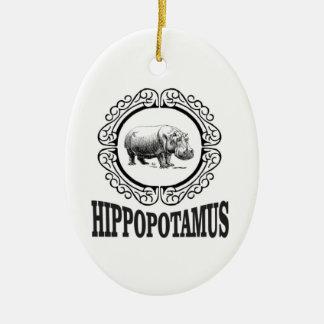 Framed Hippo Ceramic Ornament