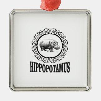 Framed Hippo Metal Ornament