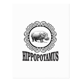 Framed Hippo Postcard